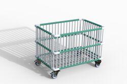Moplen chariot à barreaux plastiques 95x63x67cm Moplen à barreaux plastiques